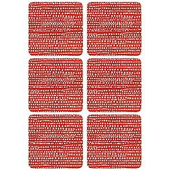 Home Collection Basics - Set of six red sea foam print coasters