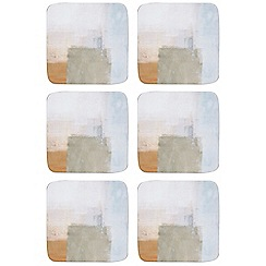 Home Collection - Pack 6 of multi-coloured abstract print coasters