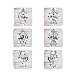 Home Collection - Pack of 6 la petite cuisine print coasters
