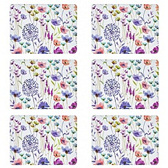 Home Collection - Set of six multi-coloured floral watercolour print mats