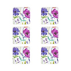 Home Collection - Set of six multi-coloured floral watercolour print coasters