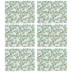 Home Collection - Pack of 6 green butterfly print placemats