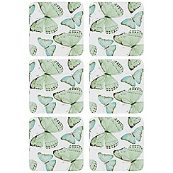 Home Collection - Set of six green butterfly print coasters