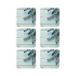 Home Collection - Pack of 6 turquoise lavender print coasters