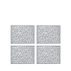 RJR.John Rocha - Pack of 4 grey floral cut-out placemats