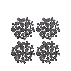 RJR.John Rocha - Pack of 4 grey floral print cut-out coasters