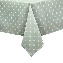 At home with Ashley Thomas - Pale green polka dot print medium tablecloth