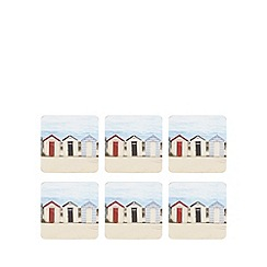 Debenhams - Set of six beach hut print coasters