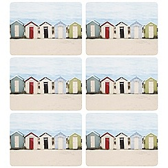Debenhams - Set of six beach hut print mats