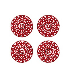 Debenhams - Red set of four Christmas felt coasters