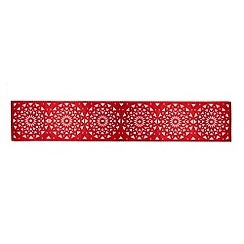Debenhams - Red floral cut-out table runner