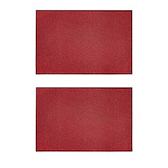 Debenhams - Set of two red sparkling placemats