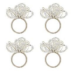 Debenhams - Set of four silver sparkle napkin rings