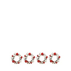 Debenhams - Set of four red jingle bell napkin rings