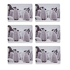 Debenhams - Set of six baby penguin print placemats