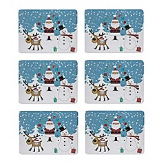 Debenhams - Set of six Santa print placemats