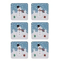 Debenhams - Set of six Snowman print coasters