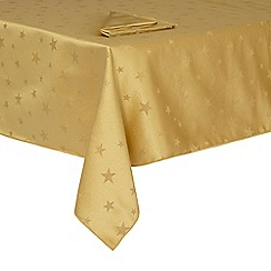 Debenhams - Gold tablecloth and napkin set