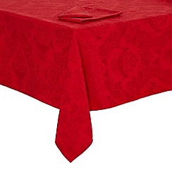 Debenhams - Red damask medium tablecloth set