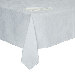Debenhams - White damask medium tablecloth set