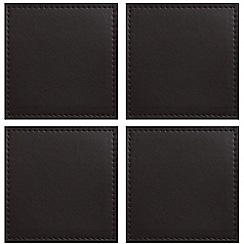Istyle - Set of 4 brown Faux leather coasters