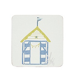 Home Collection - Off-white set of 6 beach hut print coasters