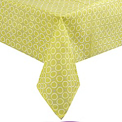 Home Collection Basics - Yellow circle print tablecloth