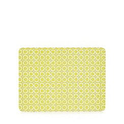 Home Collection Basics - Yellow set of 6 circle print placemats
