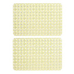 Home Collection Basics - Set of two yellow circle print placemats