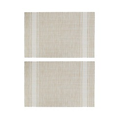 Home Collection - Set of two natural striped print placemats