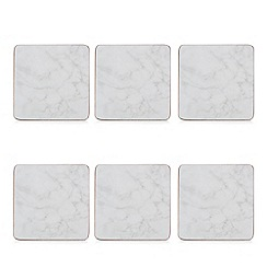 Istyle - Pack of 6 grey marble effect coasters