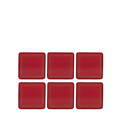 Home Collection - Set of six red border print coasters