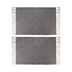 Home Collection - Set of two black and white geometric woven placemats