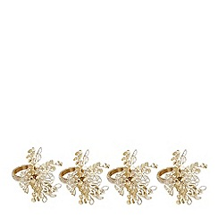 Home Collection - Set of four gold beaded napkin rings