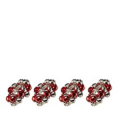 Home Collection - Set of four red bell napkin rings