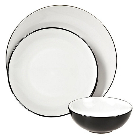 Home Collection Basics - Black twelve piece +Two Tone+ dinner set