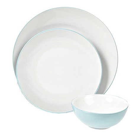 Home Collection Basics - Blue twelve piece +Two Tone+ dinner set