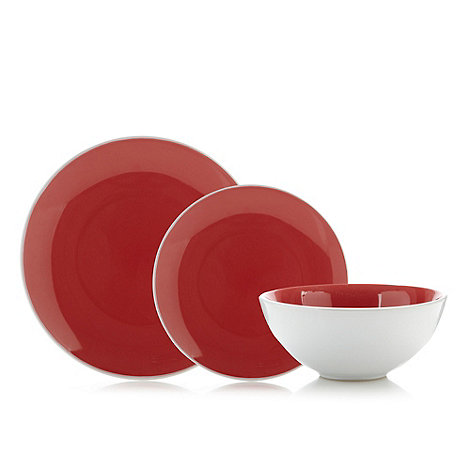 Home Collection Basics - Red stoneware two tone 12 piece dinner set