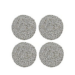 Home Collection - Pack of 4 silver beaded coasters