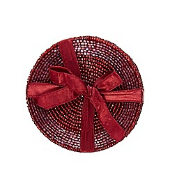 Home Collection - Pack of 4 dark red beaded coasters