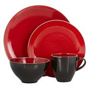 Red 'Pico' sixteen piece dinner set