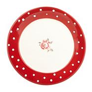 Red 'Dotty Rose' dessert plate