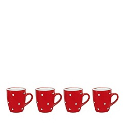 Home Collection - Set of 4 red and white spot stoneware mugs