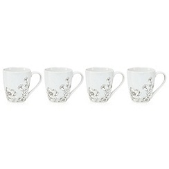 Home Collection - Pack of 4 dark grey floral print mugs