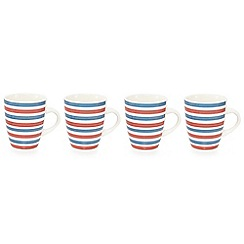 Home Collection - Set of 4 red and blue striped stoneware mugs