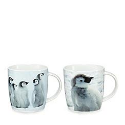 Debenhams - Set of four white porcelain penguin mugs