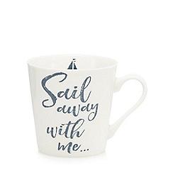 Home Collection - White 'Sail away with me' print mug