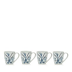 Home Collection - Set of four white porcelain floral mug set