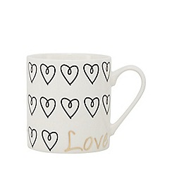 Home Collection - White heart print mug