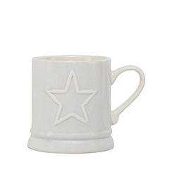 Home Collection - Grey embossed star tankard mug